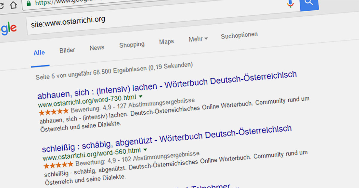 Google Rating in Search Results for Webpages • Russwurm